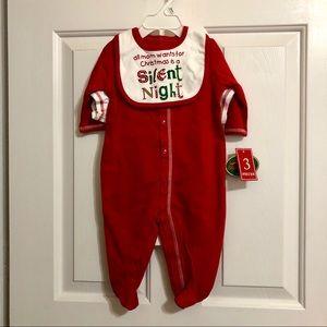 NWT Christmas 3pc Outfit Onesie Sz 6/9 Mths